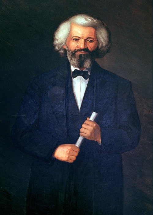 Portrait Of Frederick Douglass (1817-95) (oil On Canvas) By American School (19th Century) Greeting Card featuring the painting Portrait Of Frederick Douglass by American School