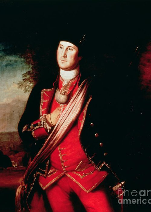 Portrait Greeting Card featuring the painting Portrait Of George Washington by Charles Willson Peale