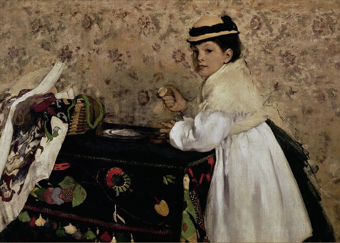 Portrait Of Hortense Valpincon As A Child Greeting Card featuring the painting Portrait Of Hortense Valpincon As A Child by Edgar Degas
