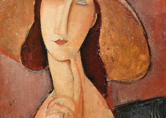 Portrait Greeting Card featuring the painting Portrait Of Jeanne Hebuterne In A Large Hat by Amedeo Modigliani
