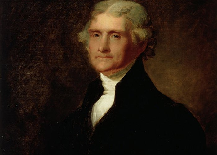 Thomas Jefferson Greeting Card featuring the painting Portrait Of Thomas Jefferson by Asher Brown Durand
