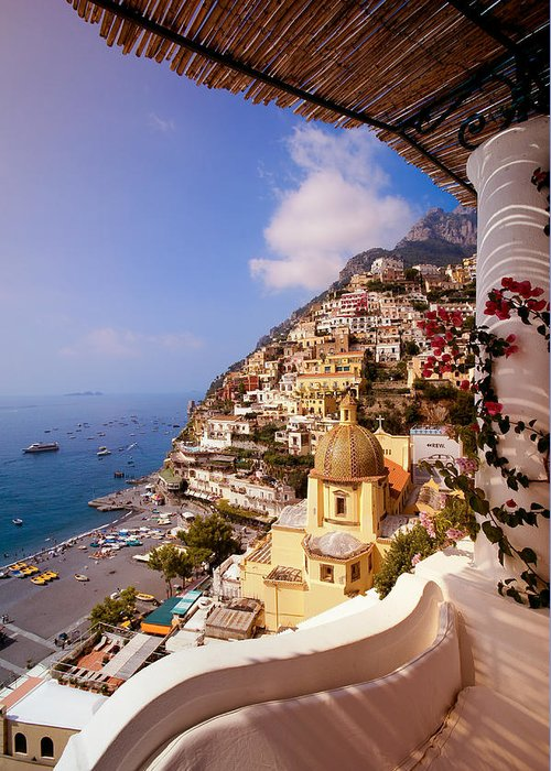 Positano Greeting Card featuring the photograph Positano View by Neil Buchan-Grant