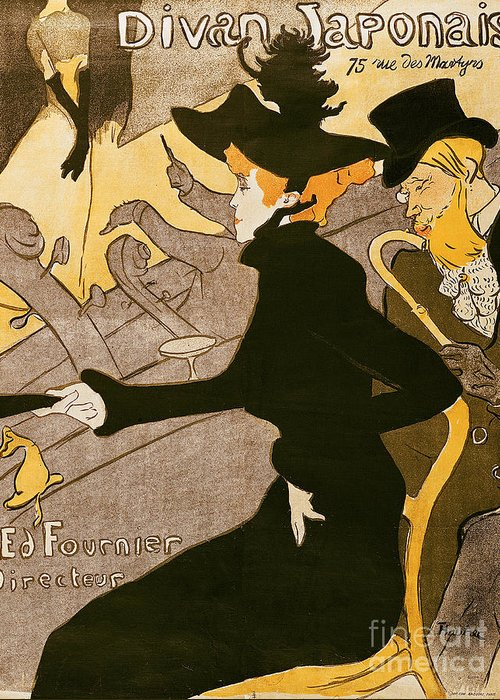 Poster Greeting Card featuring the painting Poster Advertising Le Divan Japonais by Henri de Toulouse Lautrec