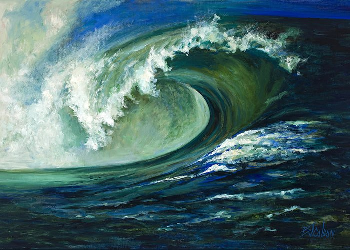 Waves Greeting Card featuring the painting Power by Billie Colson