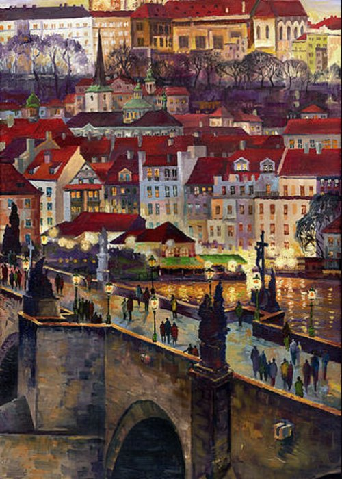 Prague Greeting Card featuring the painting Prague Charles Bridge With The Prague Castle by Yuriy Shevchuk