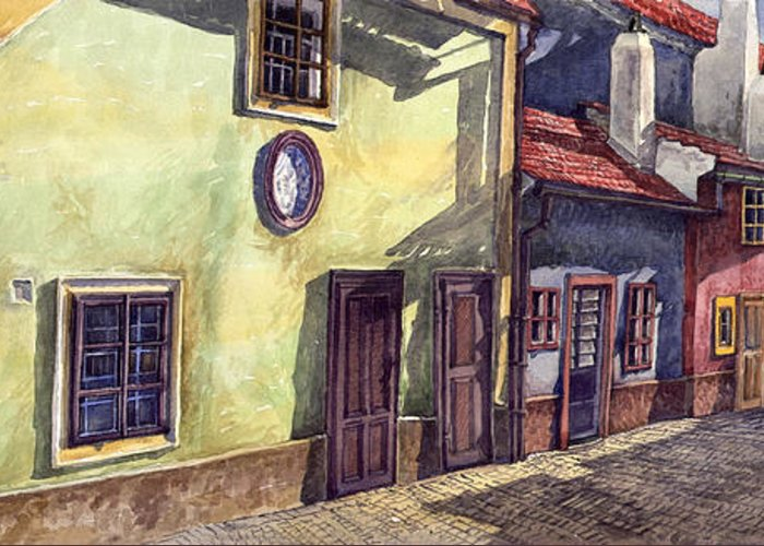 Watercolour Greeting Card featuring the painting Prague Golden Line Street by Yuriy Shevchuk