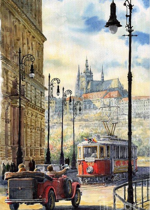 Architecture Greeting Card featuring the painting Prague Kaprova Street by Yuriy Shevchuk