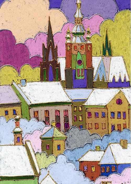 Pastel Greeting Card featuring the painting Prague Old Roofs Prague Castle Winter by Yuriy Shevchuk