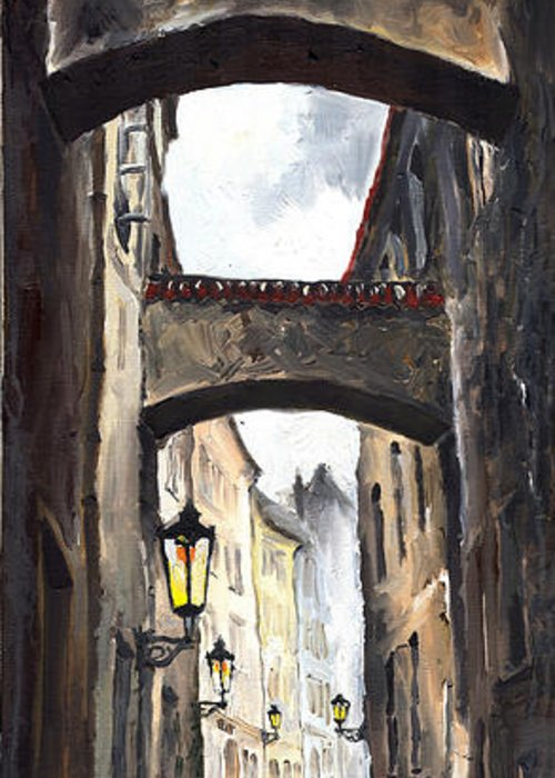 Oil On Canvas Paintings Greeting Card featuring the painting Prague Old Street 02 by Yuriy Shevchuk