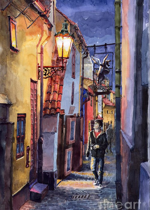 Goldenline Greeting Card featuring the painting Prague Old Street Golden Line by Yuriy Shevchuk