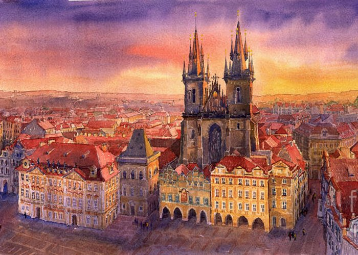 Watercolour Greeting Card featuring the painting Prague Old Town Square 02 by Yuriy Shevchuk