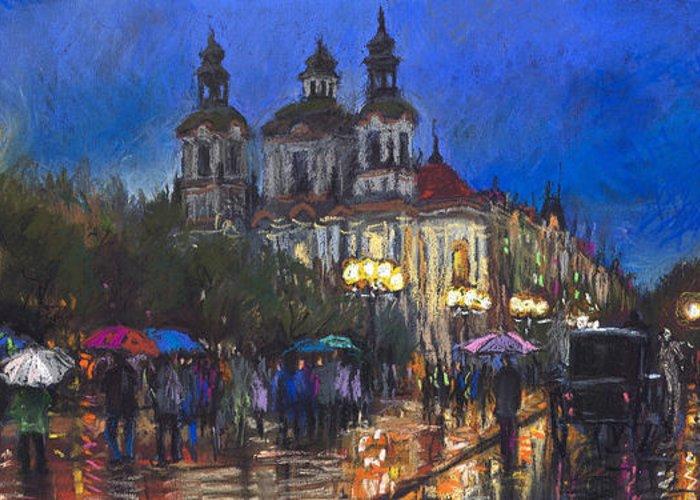 Prague Greeting Card featuring the pastel Prague Old Town Square St Nikolas Ch by Yuriy Shevchuk