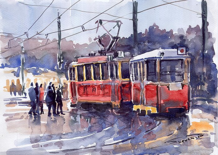 Cityscape Greeting Card featuring the painting Prague Old Tram 01 by Yuriy Shevchuk