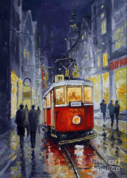 Oil Greeting Card featuring the painting Prague Old Tram 06 by Yuriy Shevchuk
