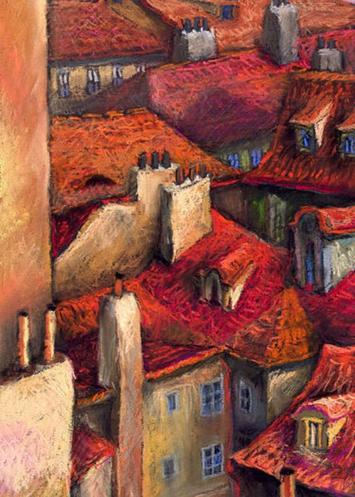 Prague Greeting Card featuring the painting Prague Roofs by Yuriy Shevchuk