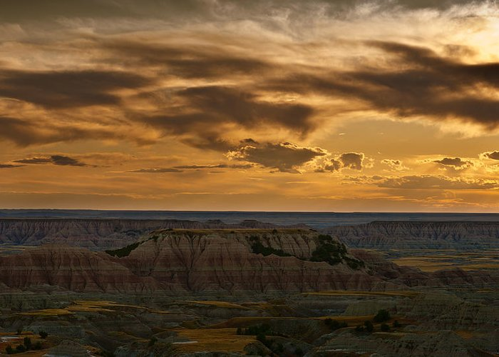 Badlands Greeting Card featuring the photograph Prairie Wind Overlook Badlands South Dakota by Steve Gadomski