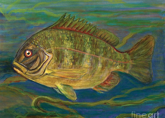 Folkartanna Greeting Card featuring the painting Predatory Fish by Anna Folkartanna Maciejewska-Dyba