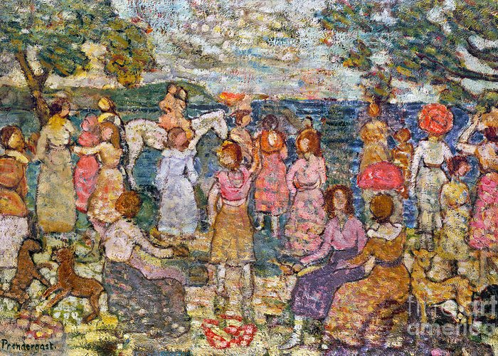 1916 Greeting Card featuring the photograph Prendergast: Beach, 1916 by Granger