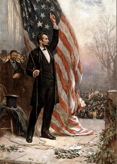 Abraham Lincoln Greeting Card featuring the painting President Abraham Lincoln Giving A Speech by War Is Hell Store