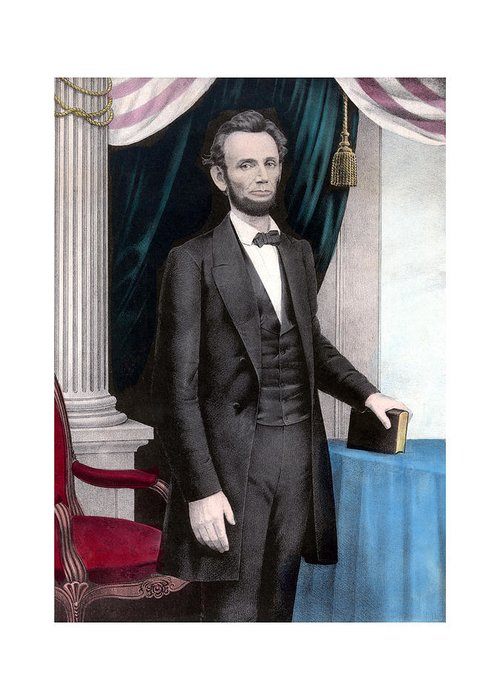 Abraham Lincoln Greeting Card featuring the painting President Abraham Lincoln In Color by War Is Hell Store