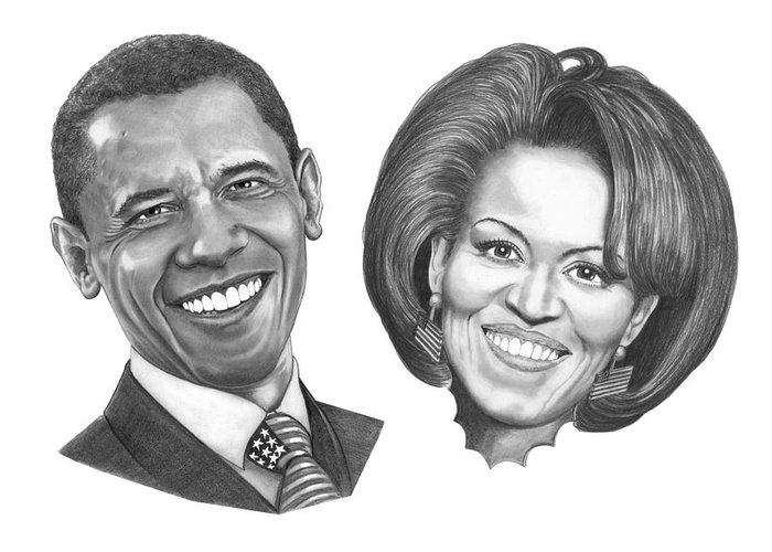 Drawings Greeting Card featuring the drawing President And First Lady Obama by Murphy Elliott