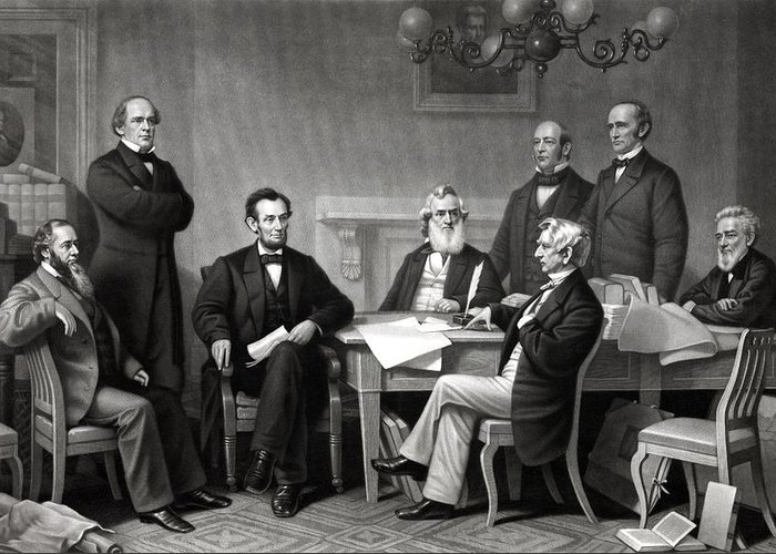 Abraham Lincoln Greeting Card featuring the drawing President Lincoln And His Cabinet by War Is Hell Store