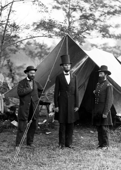 abraham Lincoln Greeting Card featuring the photograph President Lincoln Meets With Generals After Victory At Antietam by International Images
