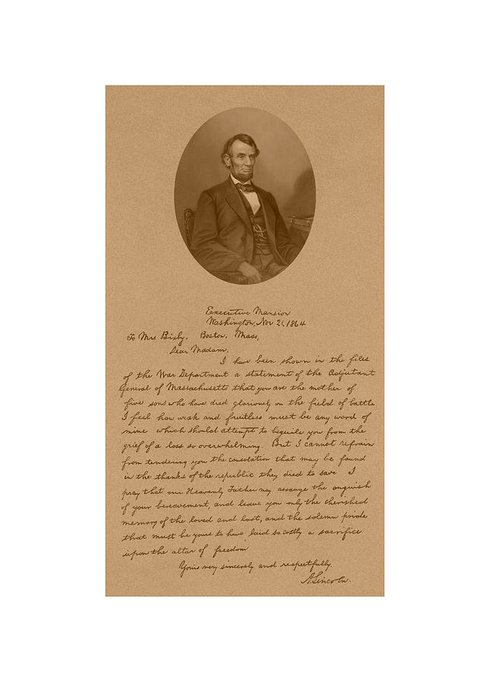 Bixby Letter Greeting Card featuring the drawing President Lincoln's Letter To Mrs. Bixby by War Is Hell Store