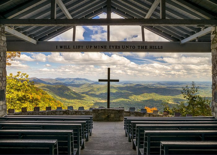 Pretty Place Chapel Greeting Card featuring the photograph Pretty Place Chapel - Blue Ridge Mountains Sc by Dave Allen