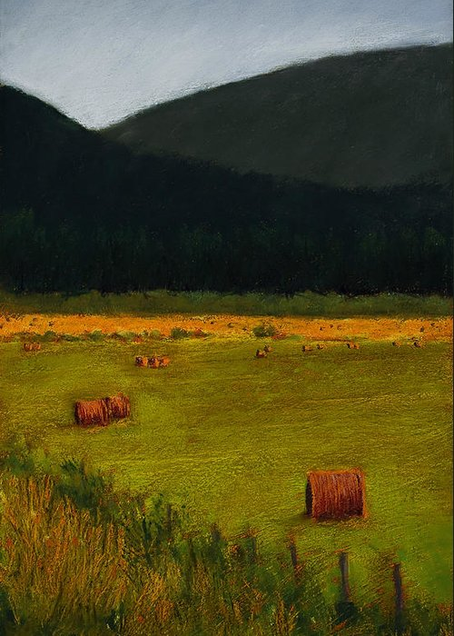 Landscape Greeting Card featuring the painting Priest Lake Hay Bales by David Patterson