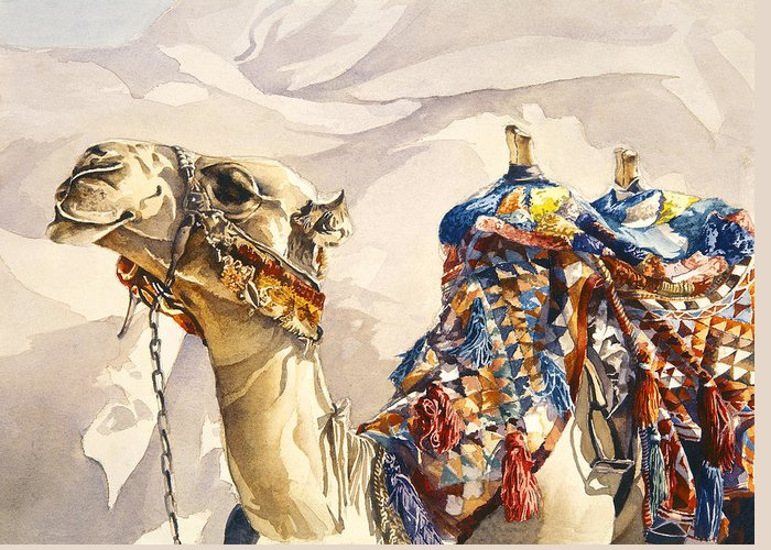 Camel Greeting Card featuring the painting Prince Of The Desert by Beth Kantor
