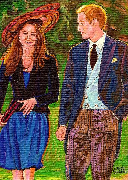 Wills And Kate Greeting Card featuring the painting Prince William And Kate The Young Royals by Carole Spandau