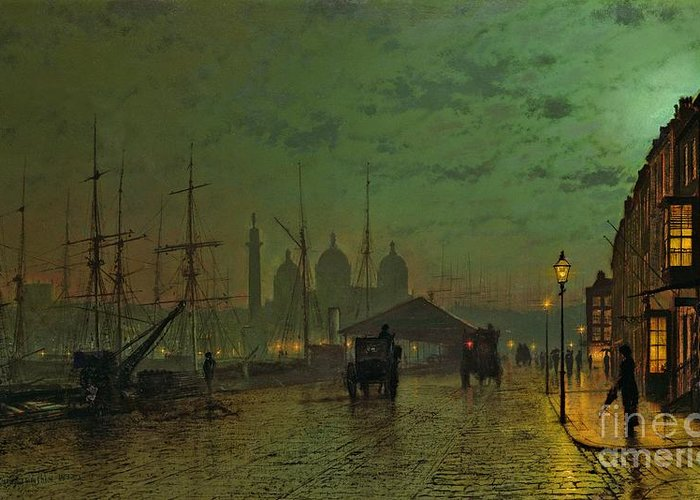 Prince Greeting Card featuring the painting Prince's Dock Hull by John Atkinson Grimshaw