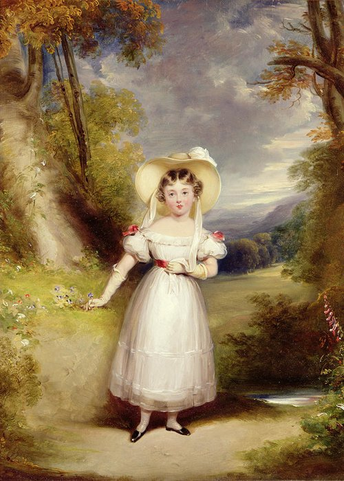 Princess Greeting Card featuring the painting Princess Victoria Aged Nine by Stephen Catterson the Elder Smith