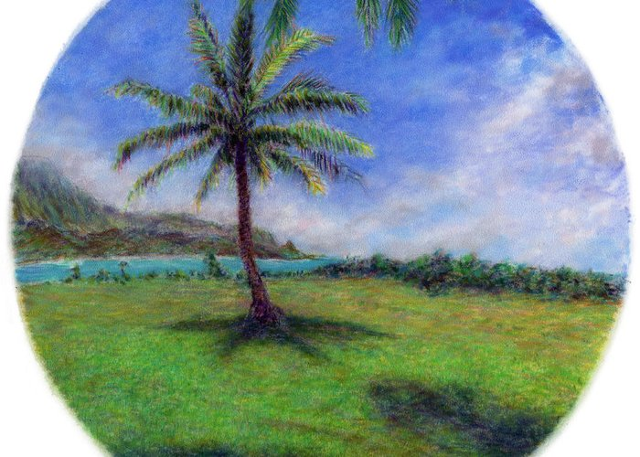 Rainbow Colors Pastel Greeting Card featuring the painting Princeville Palm by Kenneth Grzesik