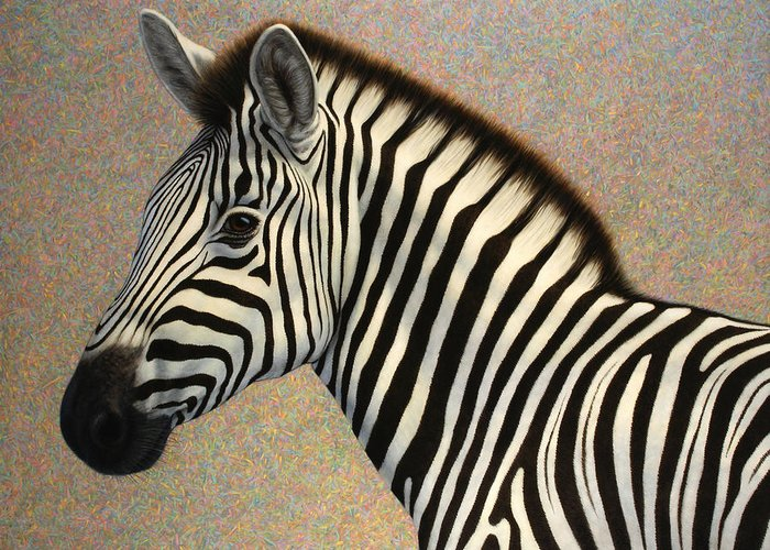 Zebra Greeting Card featuring the painting Principled by James W Johnson