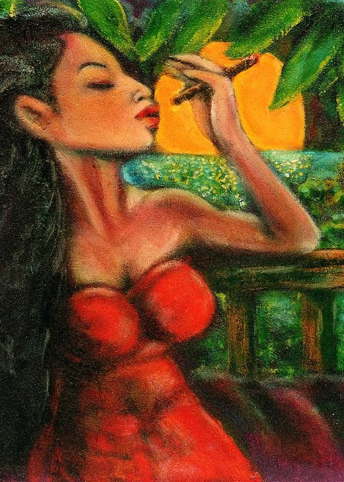 Cigars Greeting Card featuring the painting Private Celebration by Dennis Tawes