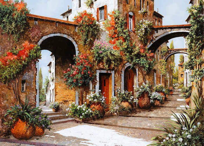Landscape Greeting Card featuring the painting Profumi Di Paese by Guido Borelli