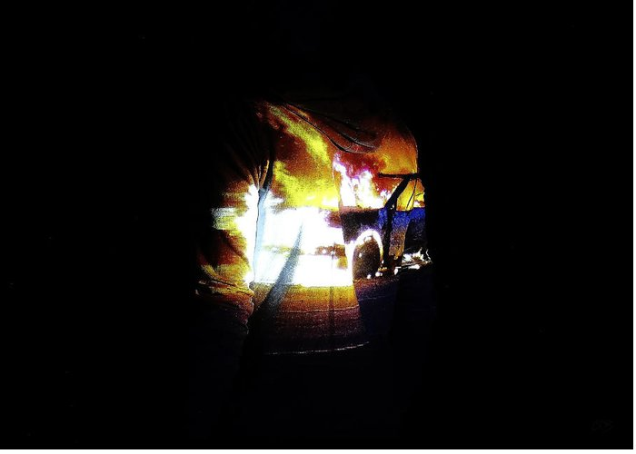 Projection Greeting Card featuring the photograph Projection - Body - Car Fire #1 by Conor OBrien