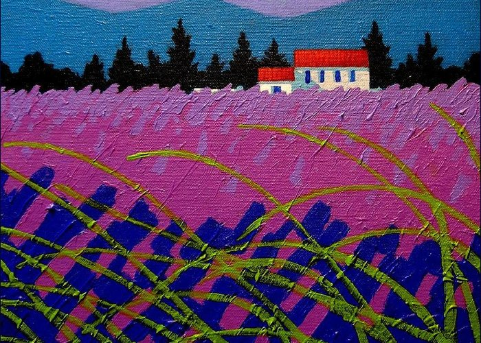 Lavender Greeting Card featuring the painting Provence Landscape by John Nolan