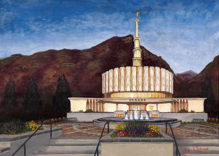 Temple Greeting Card featuring the painting Provo Temple by Jeff Brimley