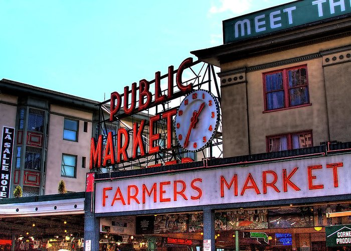 Pike Place Market Greeting Card featuring the photograph Public Market II by David Patterson