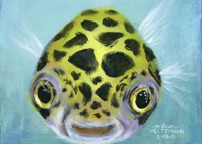 Green Spotted Puffer Fish Greeting Card featuring the painting Puffy by Arleana Holtzmann