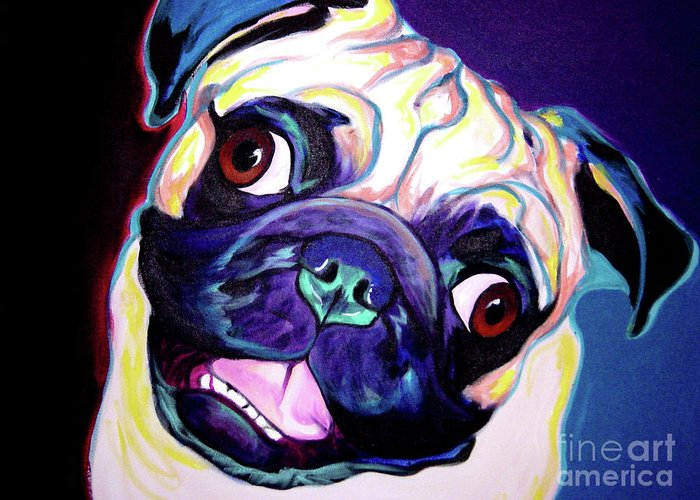 Pug Greeting Card featuring the painting Pug - Rider by Alicia VanNoy Call