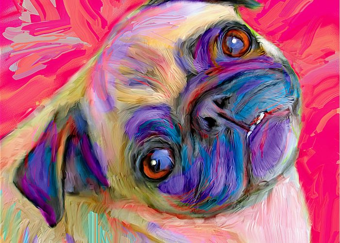 Pug Greeting Card featuring the digital art Pugsly by Karen Derrico