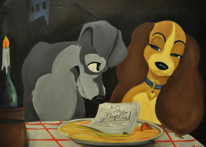 Lady And The Tramp Greeting Card featuring the painting Pup Nup by Mitchell Todd