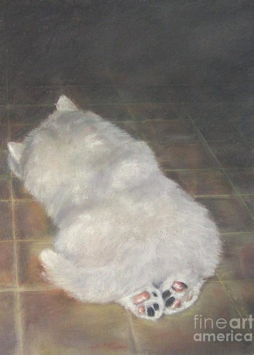 Samoyed Puppies Greeting Card featuring the painting Puppy Feet by Elizabeth Ellis