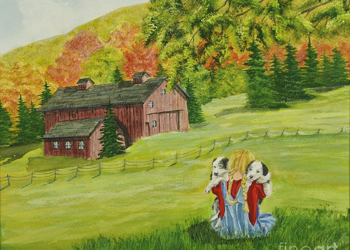 Country Kids Art Greeting Card featuring the painting Puppy Love by Charlotte Blanchard