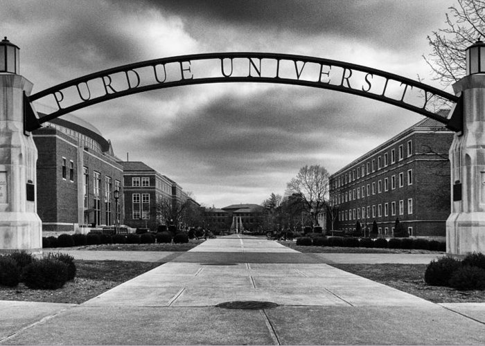 Purdue Greeting Card featuring the photograph Purdue Entrance Sign by Coby Cooper