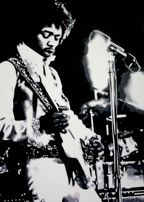 Jimmy Hendrix Greeting Card featuring the painting Purple Haze by Luis Ludzska
